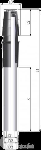 Tricox PATH507C pps/alu 60/100 tetőátvezető hosszabbító 1000mm